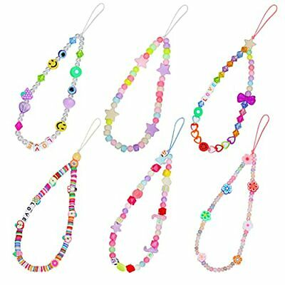 6PCS Beaded Phone Charm Y2K Phone Lanyard Wrist Straps Smiley Face Beads A