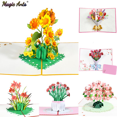 Pop-Up Flower Card Flora 3D Greeting Card for Birthday Mothers Fathers Day Grad