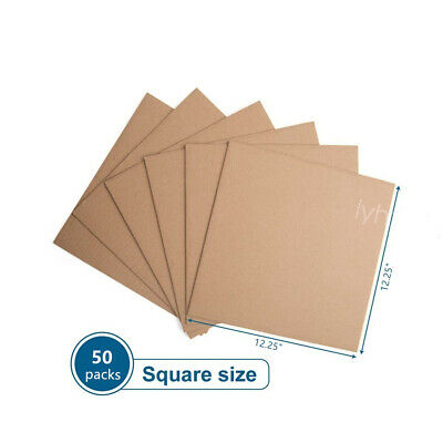 50PCS 12-25x12-25 Corrugated Cardboard Sheets Inserts for Packing Mailing New