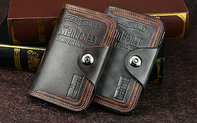 Mens Mens S4 Retro Leather Vertical Section Credit Card Holder Wallet with Hasp
