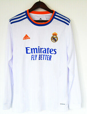 Newest 202122 Real Madrid FC Home Long Sleeve Shirt Football Jersey for Adult