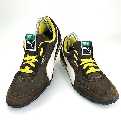 Vtg Puma Lab II Mens Retro Suede Leather Brown Yellow Running Shoes Sz 8 342484