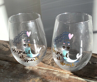NEW Mermaid at heart set of two wine glasses new with tags NWT