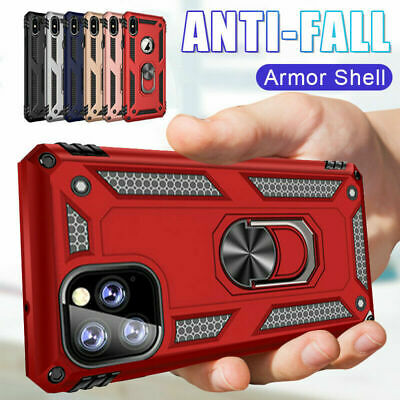For iPhone 12 11 Pro Max XS XR Shockproof Heavy Duty Armor Ring Stand Case Cover