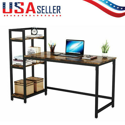 Computer Desk with 3-Tier Storage Shelves Home Office Study Table Workstation