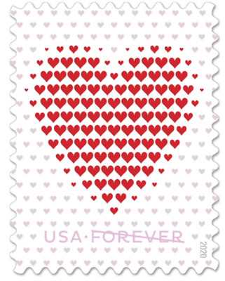 USPS 100 5 Panes of 20 New Made of Hearts First Class Postage Stamps
