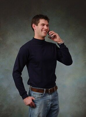 Adult Mock turtleneck Long Sleeve T-shirt-100 cotton-Size S to 3XL- Made in USA