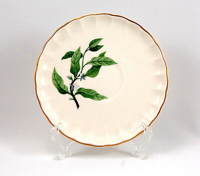 W S George B8760 Saucer Only 6 in- Green Leaves Gold Trim