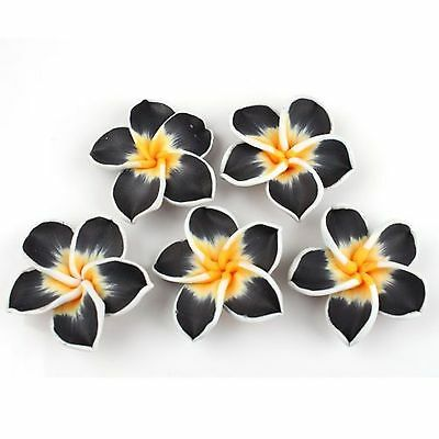 15PCS Black FIMO POLYMER CLAY FLOWERS Spacer BEADS Hot Hole 1-5mm 111104