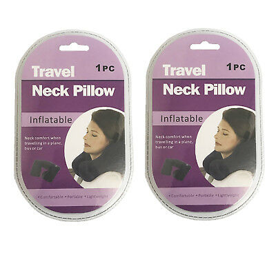 2 Pack Blue Inflatable Travel Pillow Neck U Rest Air Cushion