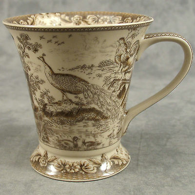 BROWN - CREAM TRANSFERWARE FRENCH COUNTRYSIDE PEACOCK TOILE MUG CUP  12 Ounce