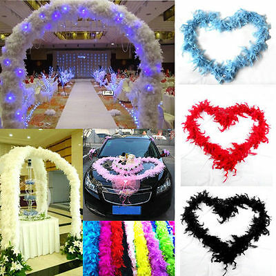 2pcs Fluffy Feather Boa Flower Costume Dressup Wedding Party Home Decor Craft