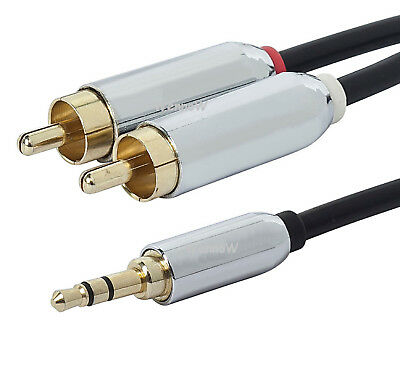 3 ft 3-5mm Mini Plug to 2 RCA Male Stereo Audio Cable
