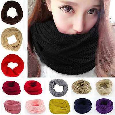 Stylish Girl Winter Warm Infinity Circle Cable Knit Cowl Neck Scarf Shawl Long