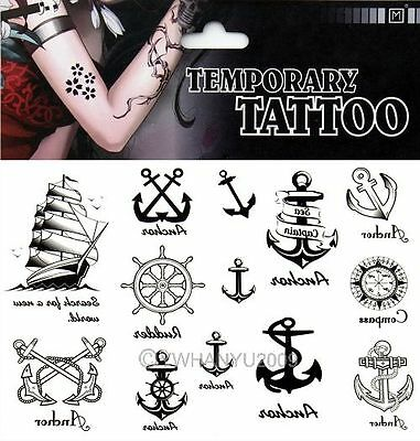 New 1pc Waterproof Sexy Removable Tattoo Sticker Temporary Body Art Boat Compass