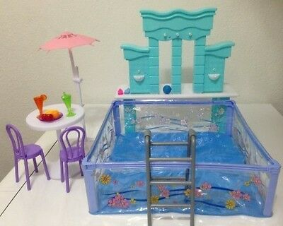 Barbie Size Dollhouse Furniture Water Fountain - Swimming Pool Play Set New