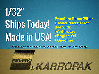 132 6x9 Paper Fiber Gasket Material Fel-Pro Engine Car Truck Carburetor Gas Oil