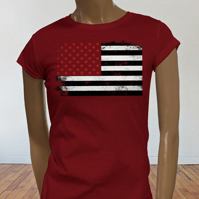 4 Fourth Of July Fireworks Vintage American Red Stars Flag Womens Red T-Shirt