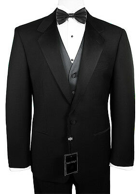 Sizes 35-64 Long- 6-Piece Tuxedo Package with Flat Front Pants - Charcoal Vest
