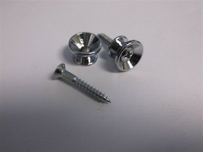 NEW - Set of 2 Guitar Strap Buttons With Screws - CHROME