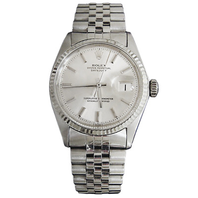 Rolex Datejust Mens SS Stainless Steel - 18K White Gold Jubilee Silver Dial 1601