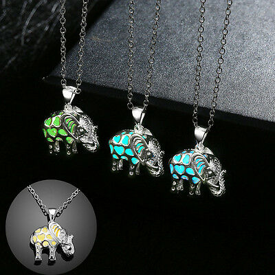 Fashion Hollow Elephant Pendant Luminous Glow In The Dark Necklace Jewelry Gift