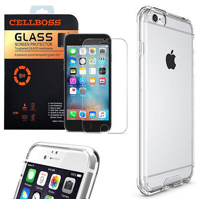 Full Protect Tempered Glass Screen Cover Clear TPU Case For iPhone 7 6 6S 5 Plus