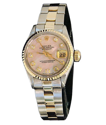 Rolex Datejust Ladies 14K Yellow Gold - Steel Watch Pink MOP Diamond Dial 6917
