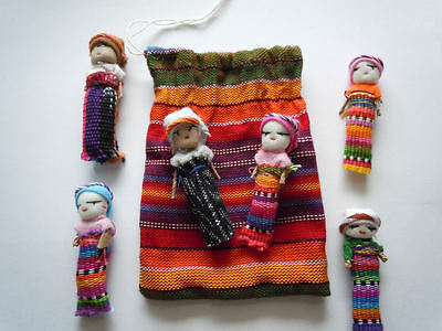 6x Large Guatemalan Worry Dolls in POUCH - Hand Made Mayan Trouble Doll 2 Bag