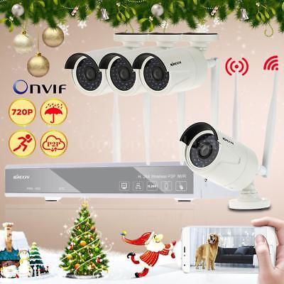 4CH 720P Wireless NVR Kit HD Outdoor IR Security IP Camera WIFI CCTV System M8D2
