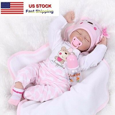 【SHIP FROM USA】22Handmade Lifelike Baby Silicone Vinyl Reborn Doll -Clothes