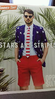 Oppo Suit Stars Stripes Costume USA Flag Uncle Sam Jacket Tie Shorts 4th Of July