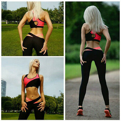 Damen Gym Outfit Set Sport Ernte Top Legging Fitness Workout Athletic Bekleidung