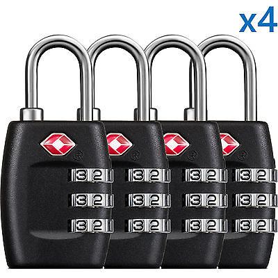 BG 4 x TSA Lock Travel Luggage 3 Digit Combination Resettable NEW TL01 4 pcs