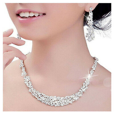 Silver Bridal Wedding Party Crystal Rhinestone Necklace Earrings Jewelry Set