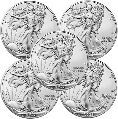 Lot of 5 - 2020 American Eagle Coins 1 oz -999 Fine Silver