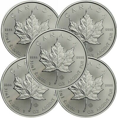 Lot of 5 - 2020 1 oz Canadian -9999 Silver Maple Leaf Coins