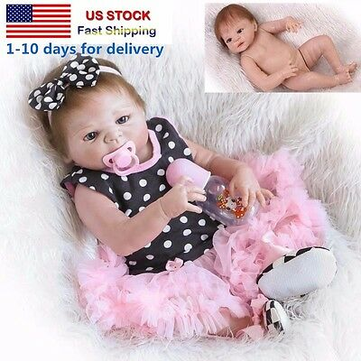 23 Handmade Silicone Full Body Baby Dolls Newborn Vinyl Reborn Girl Doll-USA