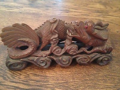 Antique Vintage Chinese Carved Rosewood Wood Dragon Statue with Stand