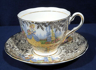 Colclough Bone China Victorian Lady in Garden Gold Chintz Tea Cup and Saucer Set