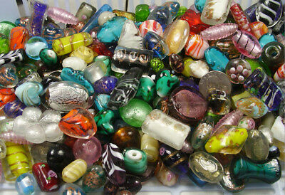 TWO POUNDS ASSORTED VENETIAN INSPIRED MIX LAMPWORK GLASS BEADS LOT BD-34