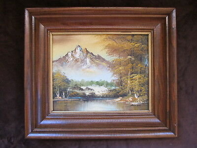 SIGNED VINTAGE LANDSCAPE OIL PAINTING MYSTERY ARTIST FRAME WATER SNOW MOUNTAINS