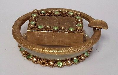 VINTAGE ASHTRAY AND MATCH BOX GOLD TRIM W JEWELS  S532