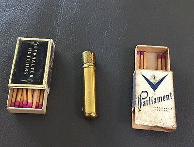 Vintage Box Of Matches - Brass Carrying Case LOT
