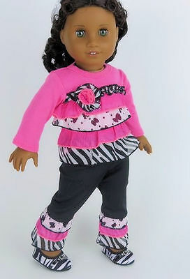 18 Doll Clothes Pink - Black Ruffled Pant Set fits American Girl Dolls Clothing