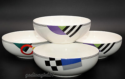 Mikasa High Spirits  4 CEREAL BOWLS  Colorful Geometric Design Good-Used Cond