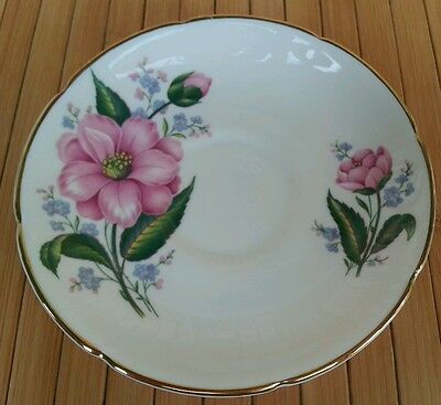 ROYAL GRAFTON Saucer Fine Bone China White w Pink Flowers Made in England ■