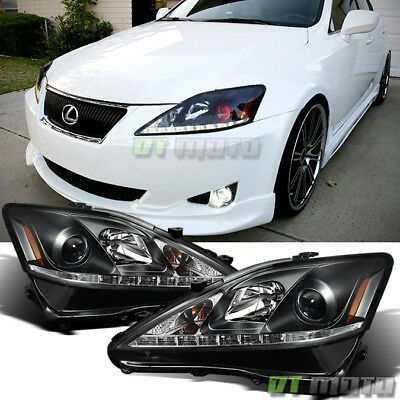For 2006-2010 Lexus IS250 IS350 Black LED DRL Projector Headlights Left-Right
