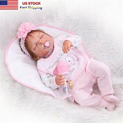 22Lifelike Handmade Full Silicone Vinyl Reborn Baby Doll Sleeping Newborn Girl