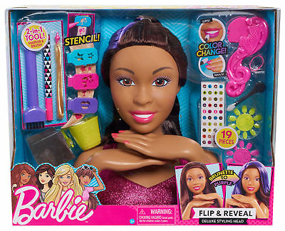 Barbie Flip and Reveal Deluxe Styling Head - Brunette to Purple